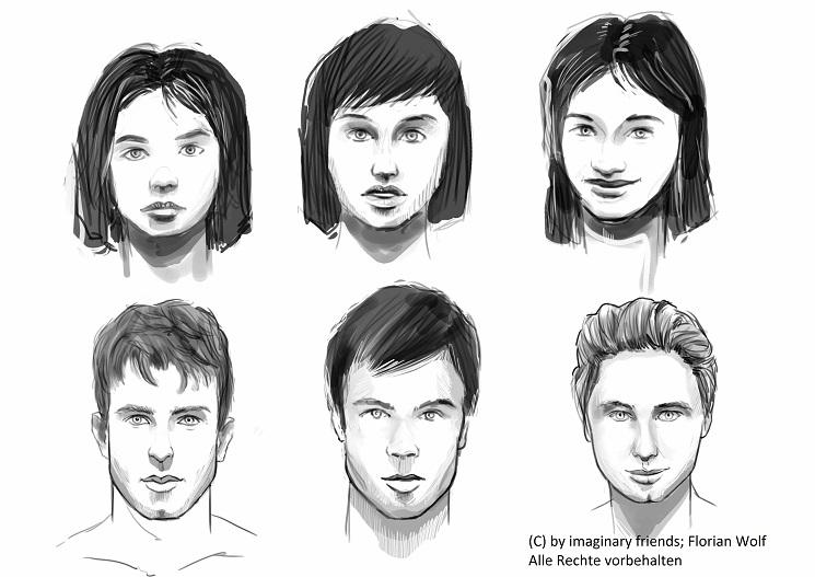 Frühe Skizzen von Katy und Daemon